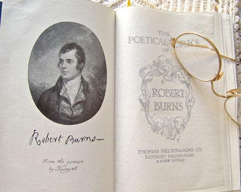 Antique Poetical Works of Robert Burns 1927 Leather Poetry Book Pocketbook of Poems