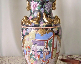 Vintage Porcelain Vase Gold Gilt Dragon Motif Chinese Decor Famile Floor Vase Hand Painted Signed Vintage 1970s
