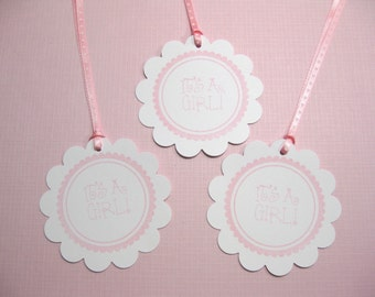 10 It's a Girl tags - Baby Tags - Pink and White Baby Girl Tags - Circle Tags - Scalloped Circle Tags - Gift Tags - Baby Shower Favor Tags