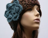 Brown and Blue Multi Headband with a Blue Flower
