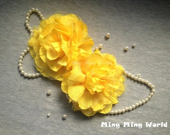 Millinery Flower -2 PCS  Yellow Flower Chiffon and Tulle Flower (F2)