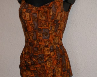 Vintage 1950s sarong front bombshell swimsuit St Michael XS S Rockabilly VLV High