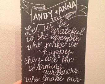 Customized, Handwritten, Small Moleskine Cahier Notebook, Gratitude Journal, Couples Journal