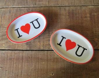 Vintage Ceramic I Love You Dish - Heart Tray -