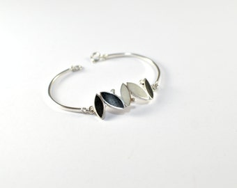 Sterling Silver Bracelet, Small Seeds, Black, White, Modern, Contemporary, Color
