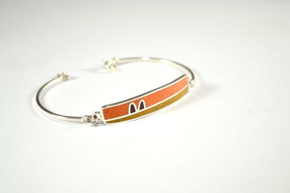 Sterling Silver Bracelet - Orange Mustard Brown - Modern Design