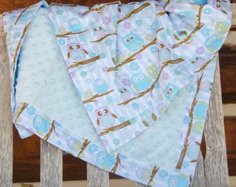 "Owl Minky Baby Blanket Boy or Girl Stroller Size Blue Green Purple - 30""x42"" - Name Available - Owls on a Branch"