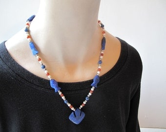 Lapis Lazuli Bird and Fish Necklace with  Pearl and Carnelian Beads  by the Old Silk Route