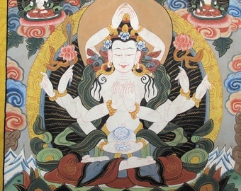 Buddhist Tangka,Thangka Painting of the Goddess of Compassion,21x32inches