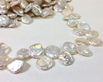 High Luster A Grade 13 to 17 mm Top Drilled KeiShi Pearl - Freshwater Pearl Cornflake Beads - White - 16 Inches strand (G4319W95)