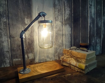 Mason Jar Desk Lamp, Industrial Lamp, Mason Jar Light, Industrial Lighting Accent Lamp, Rustic Lamp,  Mason Jar Lamp, Barn Wood Home Decor