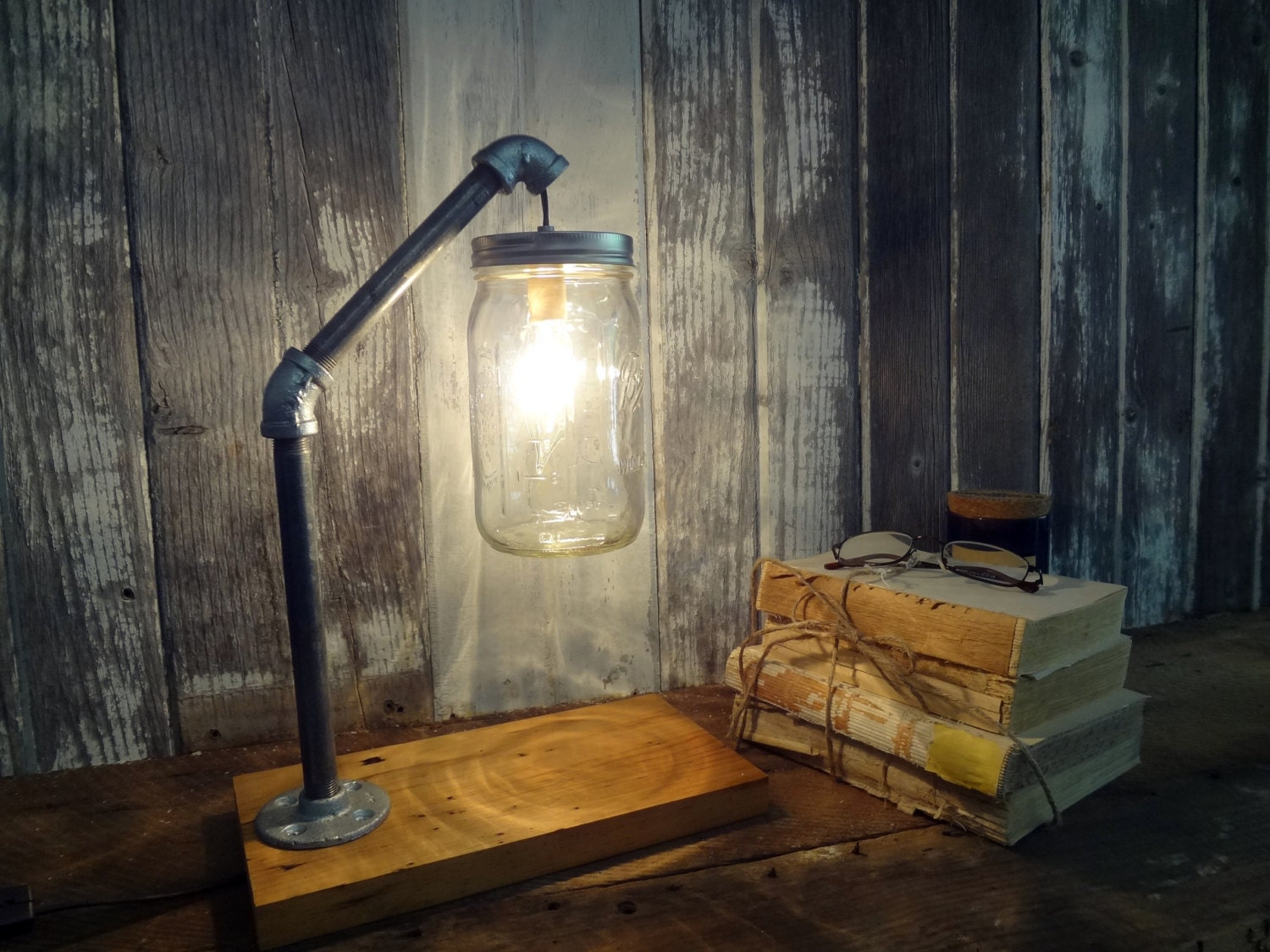 Mason jar desk lamp industrial lamp mason jar light for How to make an industrial lamp