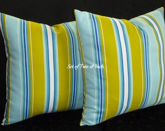 Decorative Pillow Covers / Throw Pillows / Accent Pillows - Blue, Lime and White - Set of Two 18 Inch