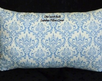 Decorative Throw Pillow, Lumbar Pillow, Accent Pillow - 18x12 Inch Lumbar, Blue and White