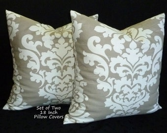 "Decorative Pillows - Set of Two 18"" x 18"" Decorative Throw Pillow Covers -Colors include white and taupey grey."