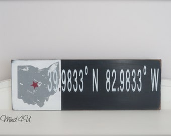 Ohio Sign, Ohio State, State Sign, Coordinates Sign, Wood Wall Art, Distressed Sign, Custom State Sign