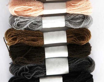 Eight colors of crewel embroidery wool in neutral shades - 27 yards per skein.