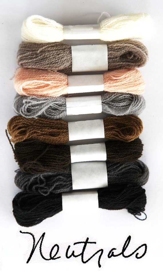 Eight colors of crewel embroidery wool in neutral shades for Shades of neutral colors