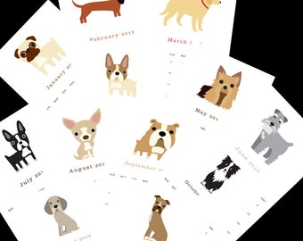 2016 Calendar twelve (12) adorable dog illustrations