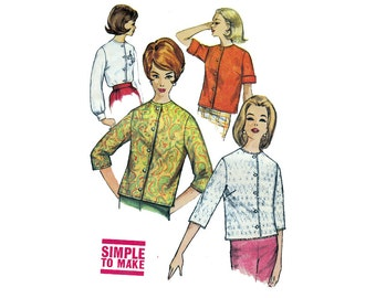 "Sewing Pattern SIMPLE to Make 60s BLOUSE or JACKET Jewel Neckline Easy Beginner Size 12 Bust 32"" (81 cm) Simplicity 4464 S"