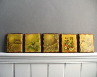 70s wall art, vintage decoupage plaques, woodland, rustic, kitsch, nature scenes, butterfly