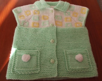 Knitting Baby Vest...Sweater..Green,White and Yellow