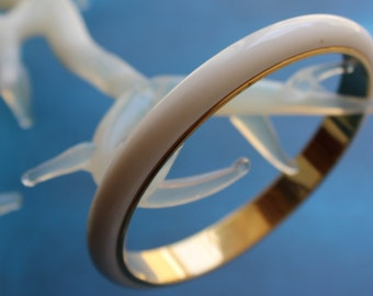 70s Monet White Bangle Bracelet Gold Tone