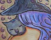 """Pyrography womanhood miniature art ACEO """"The witch had a cat....."""" Mixed media Original artwork by Gioia Albano"""