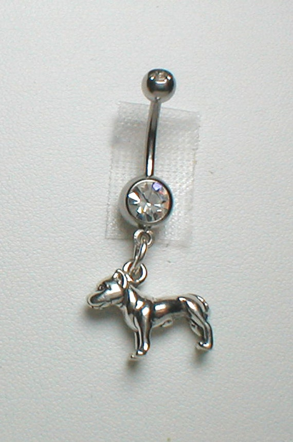 pit bull belly ring sterling silver