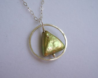 Recovery Pendant Freshwater Sage Green Pearl and Silver