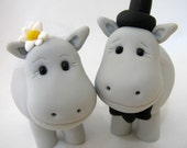 Hippo love, wedding cake topper, bride and groom, polymer clay
