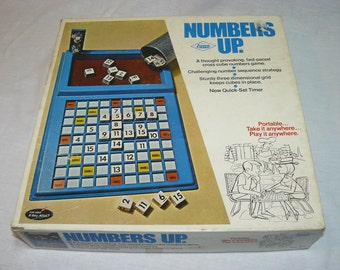 Rare - Numbers Up - Cross Cube Numbers Strategy Board Dice Game - E.S. Lowe - 1971