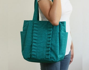 SALE Women bag, Tote Bag in Teal Water-resistant Nylon with Ruffles, Purse, Everyday bag, Shoulder Bag, Pleats, Zipper Closure - Little Zoey