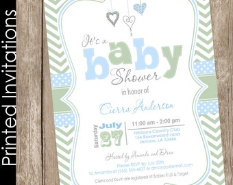 Valentines day baby shower invitation blue and green baby shower invitation boy baby shower invitation chevron invitation (FREE ENVELOPES)