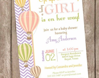 Chevron Hot Air Balloon Baby Shower Invitation, up up and away, chevron baby shower invitation, coral, green, orange, printable,