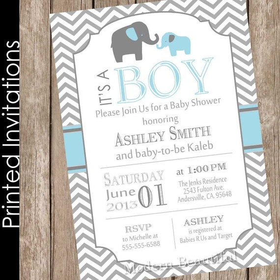 printed boy elephant baby shower invitation blue and grey blue and