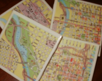 Map Coasters - Philadelphia Street Map...Set of 4...Full Cork Bottoms