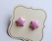 Light Purple, Lavender, Lilac earrings, Star earrings, on Titanium, nickel free post