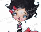 Digi Stamp Digital Instant Download Big Eye Creepy Cute Canadian Oddball Girl with Banner [2 IMGS] Image No.99A & 99B by Lizzy Love