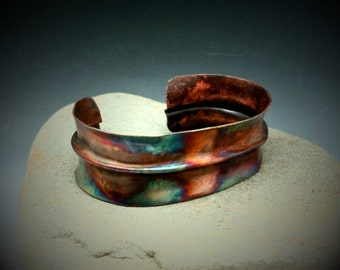 Forged Copper Cuff Bracelet Copper Flame Painted Forged Metal Fold Formed