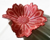 Red Ceramic Lace Wave Centerpiece, Large Red Doily Pottery Dish, Red Fluted Bowl