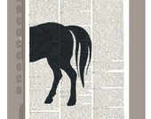 Horse -ARTWORK  printed on Repurposed Vintage Dictionary page -Upcycled Book Print
