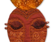 "Small Quilted Mask Wall Hanging - RISING MOON—  –10.5""h X 6.25""w - Small fiber artwork for a small place."