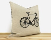 Vintage bicycle pillow case    16x16 inches Decorative cushion cover for couch   Gift for him   Black, natural beige and geometric pattern