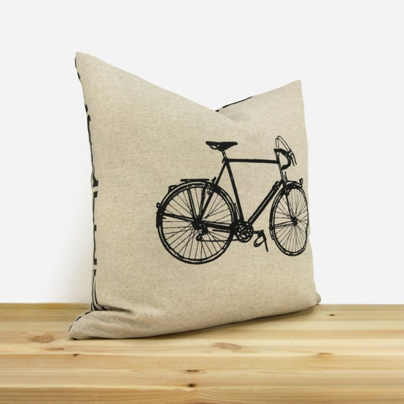 Vintage bicycle pillow case | 16x16, 12x18 Decorative cushion cover for couch | Gift for him | Black, natural beige & geometric accent