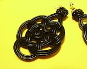 Chinese Knot(Plum Blossom Knot) Earring by Natural Leather Rope, Black, with 925 Sterling Silver Ball Ear Wire