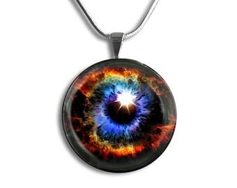 Eye Pendant, Eye Necklace, Fire Eye Pendant, Blue Eye Pendant, Fantasy Pendant Necklace