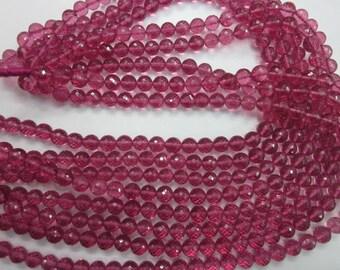 Pink quartz round faceted beads, 7-8 mm