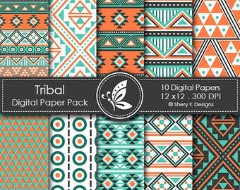 Tribal Paper Pack - 10 Digital papers - 12 x12 - 300 DPI