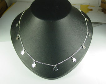 "stars ,    solid  sterling silver whith 16"" chain. Monogram is all rhodium plated   to prevent tarnishing."
